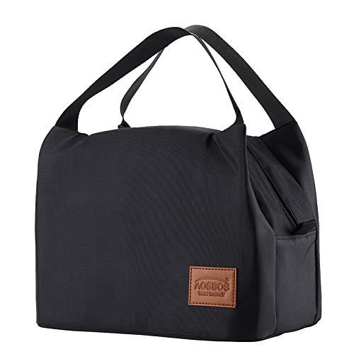 Kühltasche Klein Leicht Lunch Tasche Isoliertasche zur Arbeit Schule Faltbar Wasserdicht Reißverschluss 8,5L Schwarz