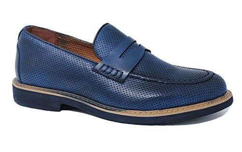 Evoga Scarpe mocassini uomo Class blu Oxford eleganti casual man's shoes (40, C13 Blu light)
