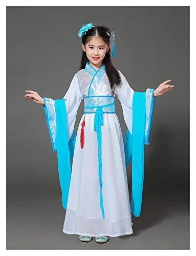 FKJSP 2 st modern kinesisk cheongsam nyårsklänning för barn traditionella kinesiska plagg för barn kinesisk han-dynasti klänning (färg: Blå, storlek: 110)