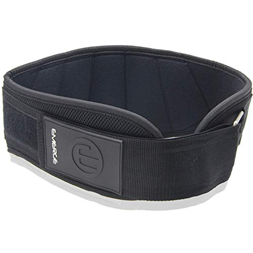 Emerge Weightlifting Belt for Lower Back Support, Weight Lifting, Deadlift for Men and Women | Adjustable Padded Nylon Back Brace Fitness