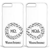 Design 82 Berlin Doppelhülle 'Unendlich - Mr & Mrs - Hochzeit - Infinity mit Namen', Kompatibel mit Apple iPhone 7 Plus, Farbe: Weiß