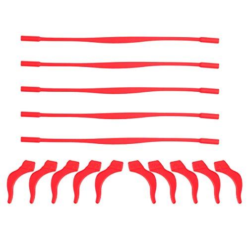 ROSENICE ROSENICE Brillenband aus Silikon, rutschfest, elastisch, für Kinder, mit 10 Ohrhaken, Rot, 5 Stück