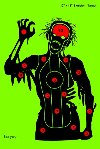 Faxyxy Shooting Targets 20 Pack Skeleton Paper Target Practice 12 x18 inch, Funny Outdoor Shots Shooting Range Paper Bright Fluorescent Yellow, Great for All Firearms, Airsoft, Pellet Guns