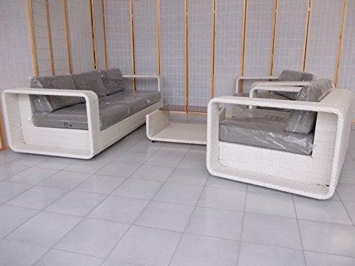 Fantasie d Oriente Living Room Rattan Synthetic White for Outdoor Furniture Garden Sofa CM 220