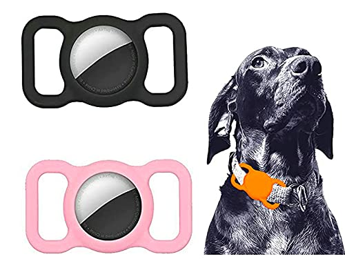 EFEG 2PCS Pet Silicone Protective Case for Apple Airtag, GPS Finder Dog Cat Collar Loop, For Pet Collar Children Elderly Bags (Black+Pink)