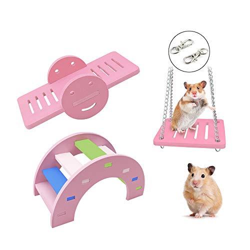 Andiker 3 niedliche Hamster Schaukel, Regenbogenbrücke und Wippe und Schaukel, Spielzeug zum Klettern und Spiele, Kleintier Aktivität, DIY Hamsterkäfig Zubehör für kleine Haustiere (Pink)
