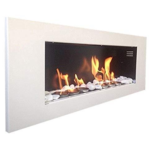 Caminetto da parete a bioetanolo XXL - Modello Plus, bianco + gratis 24 pietre decorative