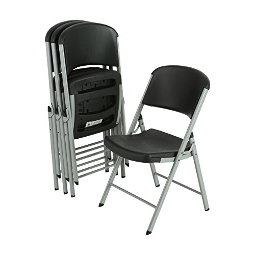 LIFETIME 80407 Commercial Grade Folding Chairs, 4 Pack, Black/Silver