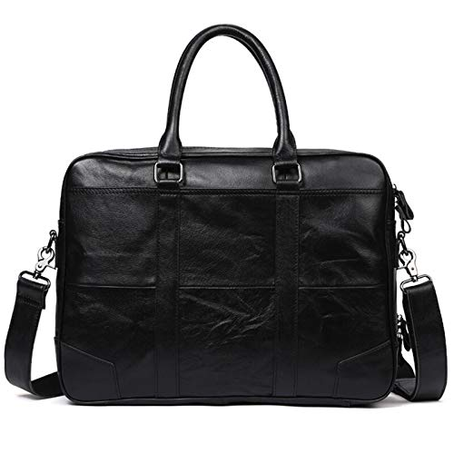 DLQX Men's Portable Handbag,Leather Large Capacity Briefcase,14 Inch Laptop Business Office Bag,Can Be Used For Travel/Business/School(Color:A)