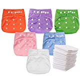 Kingrol 6 Pack Baby Cloth Diapers with 12 Insert - Adjustable Washable Waterproof Pocket Nappy for Baby