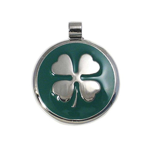 LuckyPet Pet ID Tag - Clover Jewelry Tag - Dog & Cat Pet Tags - Custom Engraved on The Back Side - Size: Large, Color: Green