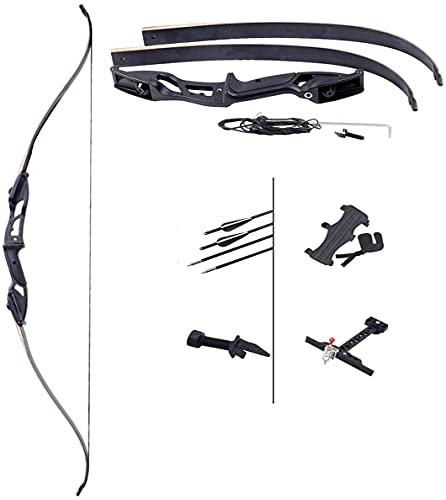 LXNQG 30-40 Libras de Largo de Caza Desmontable, Kits de Tiro con Arco recurre Arco con 3 Flechas y visión para Adolescentes y Ejercicio para Principiantes Objetivo disparando Arco de Caza, 40