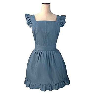 LilMents Retro Adjustable Ruffle Apron Kitchen Cooking Baking Cleaning Maid Costume (Blue)