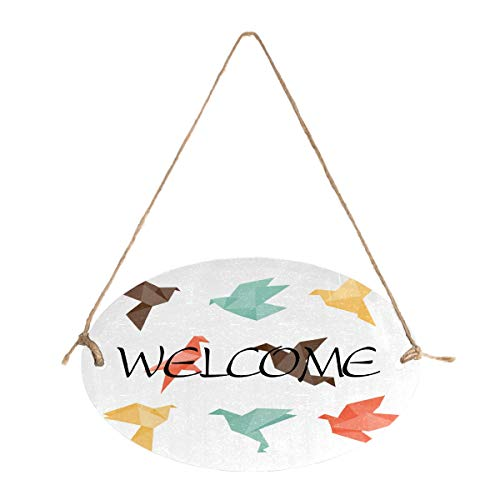 N\O Welcome Sign for Front Door Decor Origami Birds-01 Round Wood Hanging Sign Farmhouse Porch Decorations for Home Printed Wood Plaque Sign