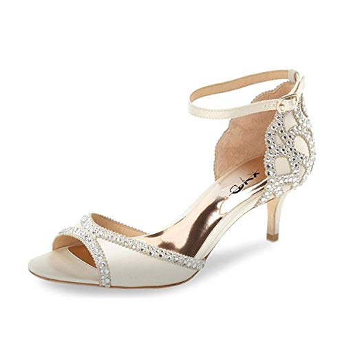 XYD Ballroom Dance Shoes Wedding Sandals Pumps with Rhinestones Ankle Strap Peep Toe Heels for Women Size 11 Ivory