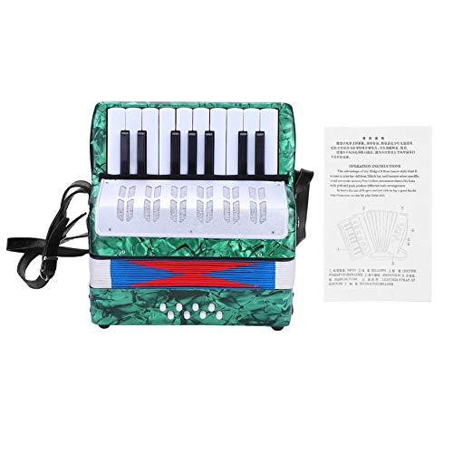 Acordeón para niños, 17 acordeones de acordeón de piano bajo de 8 teclas con correa ajustable, instrumento de música educativa acordeón de juguete para estudiantes principiantes(verde)