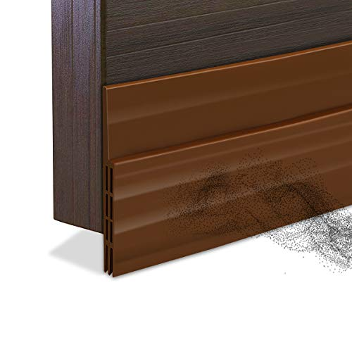 "Door Draft Stopper Bottom Seal Strip Weather Stripping Gap Noise Blocker Air Guard Door Sweeps Strong Adhesive, 2"" W x 39"" L, Brown"