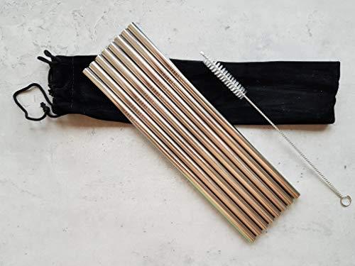 Edelstahl-Trinkhalme [8 Stück], Farbe silber, extra breiter 8mm Durchmesser, gerade, Länge 21,5cm, incl. Reinigungsbürste, wiederverwendbar, umweltfreundlich, ideal für kalte und warme Getränke