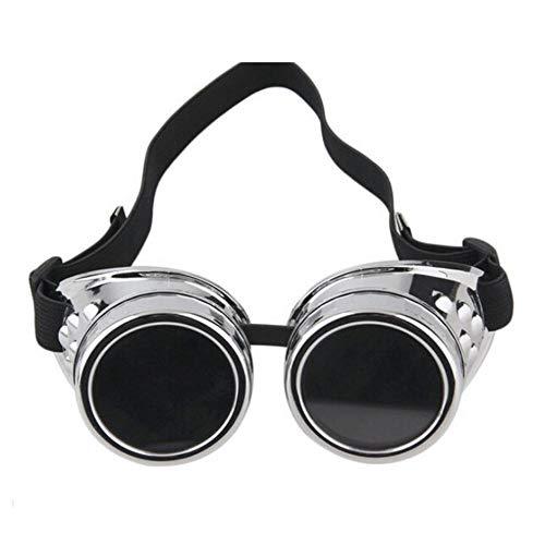Omelody Goggle, Schutzbrille für Erwachsene, zum Skifahren, Basteln, Fahrrad (schwarz/braun/silber), silberfarben