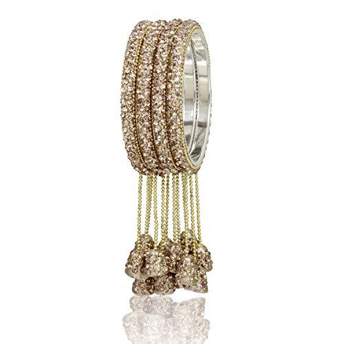 Sanara Stunning Shining Golden Stone Crystal Diamond Made Wedding & Party Wear Hanging Latkan 4Pc Bangle Bracelet Churi Set for Women & Girl (MB-16 Gold, 2.6)
