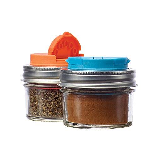 Jarware Spice Lids for Regular Mouth Mason Jars, Set of 2, Orange and Blue