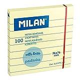 MILAN Bloc 100 notas adhesivas amarillo claro pautadas 76 x 76 mm NUEVO