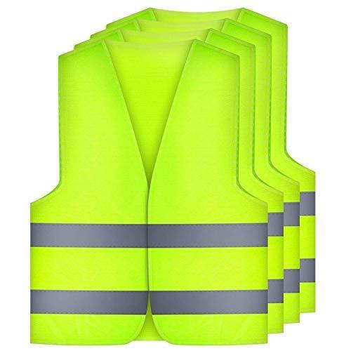 DealMux chalecos de seguridad 4 piezas, chalecos de degradación coche, seguridad chaleco, seguridad chaleco EN 471 con 360 bandas reflectantes de grado y cierre de velcro, tamaño estándar