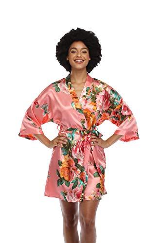 Women's Floral Satin Kimono Robes Short Silky Bridesmaid Robes...