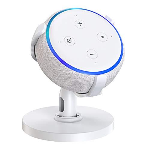 Bovon Mesa Soporte para Echo Dot (3.ª generación), Soporte Dot 3 Ajustable de 360 ° para Altavoces de Smart Home, Dot Accesorios, Mejora la Visibilidad y Apariencia del Sonido (Blanco)