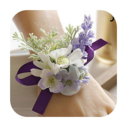 Art Flower Wedding Corsages and Boutonnieres Pins Bridal White Wrist Flower Bracelet Groom Party Brooch Decoration Marriage Accessories-J-