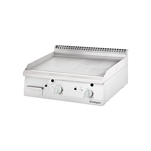 Gas-Griddleplatte als Tischgerät 1/2 glatt & 1/2 gerillt Griddleplatte Gasgriddleplatte Grillplatte Grill Tischgrill 800x700x250 mm