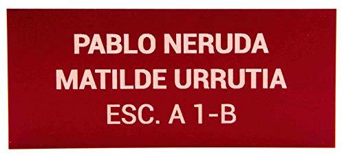 Placas Buzón de Aluminio Rojo y Grabado Gris Claro. Cinta autoadhesiva. Grosor 0,5mm y tamaño máximo 100x40mm