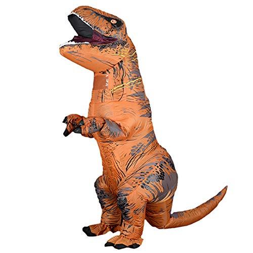 Aufblasbares T-REX Kostüm Erwachsene Dinosaurier Kostüme Jumpsuit Air Blow Up Halloween Cosplay Kostüm (braun)