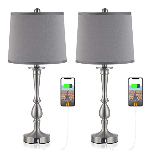 """USB Table Lamp Set of 2 Bedside Lamp with USB Port, Kakanuo Light Grey Bedside Table Lamp 25.9"""" Nickel Finish, Modern Nightstand Lamps Table Lamps for Living Room, Bedroom and Office (Set of 2)"""