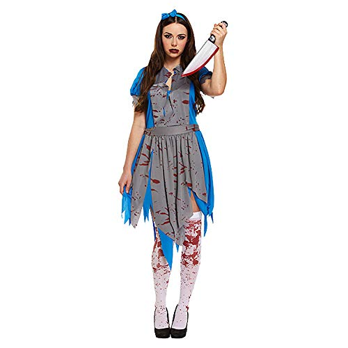 PARTYRama Ladies Horror Alice in Wonderland Zombie Fairytale Bloody Horror Halloween Fancy Dress Costume Outfit V00160 by
