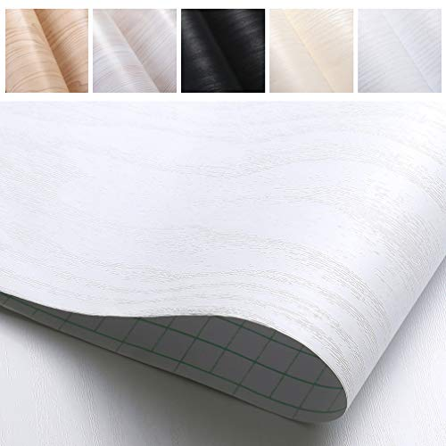 PROHOUS Möbelaufkleber Klebefolie Tapte Holzoptik Mobelfolie 0.61 * 5M Weiß Selbstklebende Küchenschrank Aufkleber Schneidbar für Möbel Küche Kommode Schrank Verschleißfest Schmutzabweisend Geruchlos