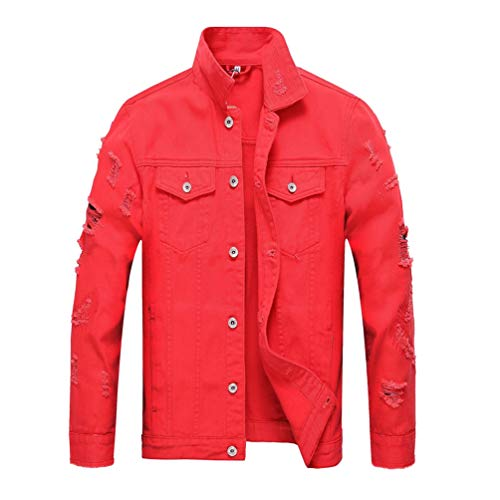 Tookang Retro Trucker Giacca in Jeans Uomo Denim Jacket Giacche di Jeans con Tasche sul Petto Outwear Cappotto Capispalla