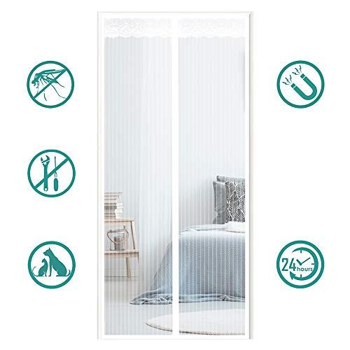 MeetBeauty Magnet Fliegengitter Tür Insektenschutz, Der Magnetvorhang ist Ideal für die Balkontür, Kellertür Und Terrassentür, Kinderleichte Klebemontage Ohne Bohren, Weiß, 70 x 200 cm