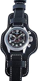 Fluco Bund 22mm Black Leather Watch Strap