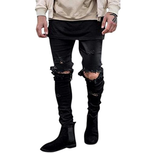 semen Herren Jeans Slim Fit Destroyed Jeanshose Mit Löcher am Knie Used Look Street Wear Skinny Leggings Freizeithose