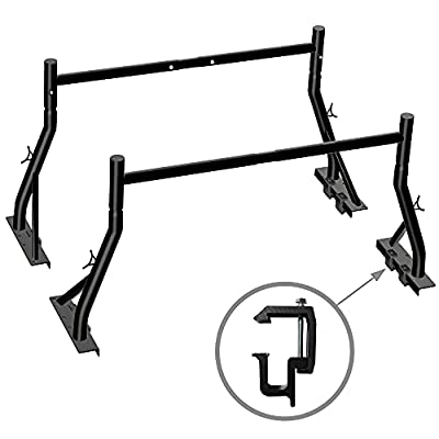 Truck Ladder Rack 800lbs Capacity with 8 Non-Drilling C-Clamps Heavy Duty Extendable Universal Pickup Ladder Rack Two-bar Set Matte Black One Pair