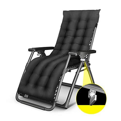 Fauteuils de salon inclinables Fauteuil de salon Zero Gravity surdimensionné noir, transat de soleil inclinable résistant pour terrasse, pour plage avec coussin épais, support de 330 lb