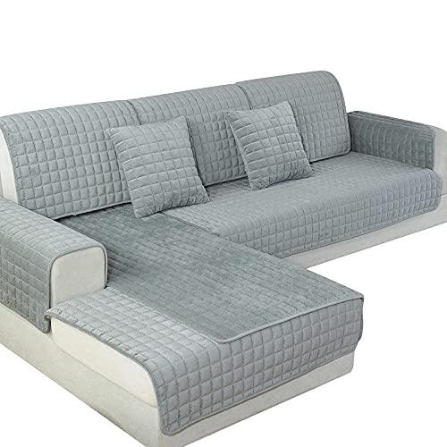 GMLT Sofa Cover Protector Sofa Handtuch,1 Stück Sofabezüge für das Wohnzimmer, Plüsch Sofa Kissen Sofabezug, Modern Minimalist Corner Sofa Handtuch-Grau_90x180cm 35x70in