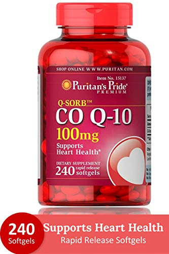 Puritans Pride QSORB CoQ10 100 mg Supports Heart Health** Important for Statin Medication Users 240...