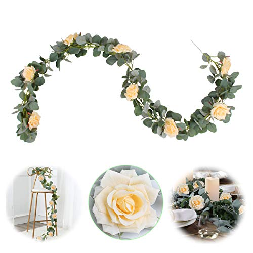 Patimate Eucalyptus Garland 6.5FT, Garland with Flowers 8 Champagne Rose Flowers, Greenery Floral Garland for Wedding Arch Decor, Home Decor, Table Runner, Banquet, Party Decor