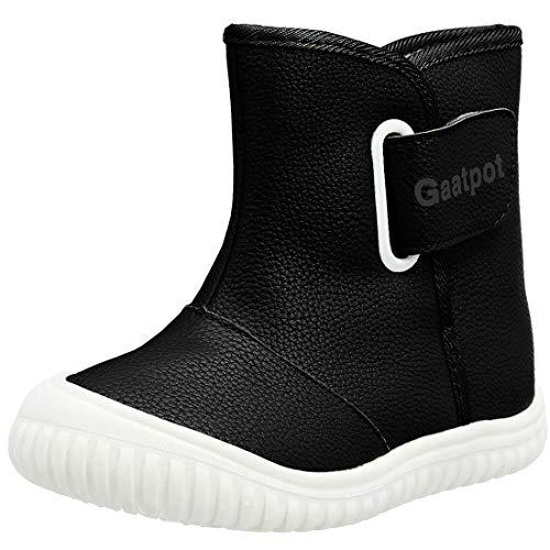 Gaatpot Unisex Bebé Botas de Nieve Zapatos de Invierno Moda Ragazzi Ragazze Botines Calzado Piel sintética Termica Además Boots Negro 28/28.5EU=28CN