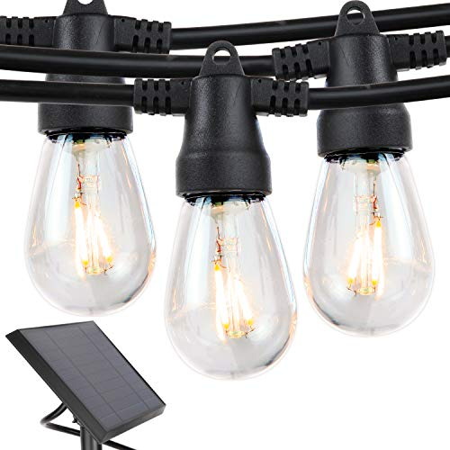 Brightech Ambience Pro - Waterproof Solar LED Outdoor String Lights - 2W Vintage Edison Filament Bulbs - 27 Ft - Create Market Ambience On Your Deck, Pergola
