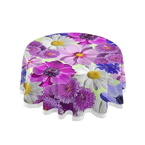 Mantel redondo de lino con borde de encaje para decoración de cocina, comedor, 152 cm
