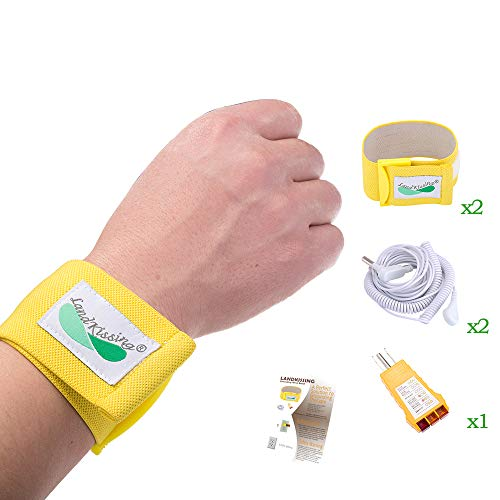 LandKissing Grounding Portable Beige Wrist Band (2 Sets) with Bigger Size for Healthy Earth Energy with 2 Flexible Coil Cords (19.5' Full Length) and 1 Ground Port Checker