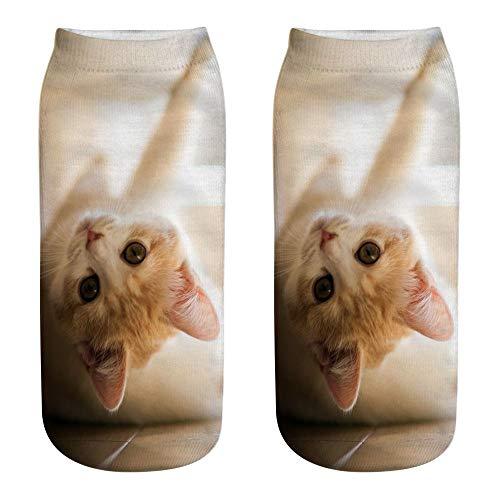 Bayliney 1 Paar Unisex Komisch 3D Mode Katze Gedruckt BeiläUfig Socken Süß Niedrig MäNner Frau Baumwolle Tiere Hund Sport Strumpf Harajuku Stil Tier Muster Weihnachten Atmungsaktiv StrüMpfe(C8)